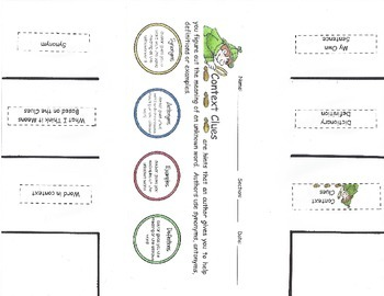 Context Clues Labeled Foldable