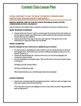 Context Clues Lesson Plan 2
