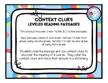 Context Clues Leveled Reading Passages