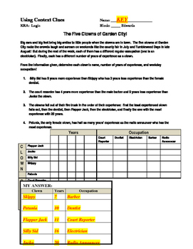 Context Clues & Logic (Common Core):  Easy Level with the KEY