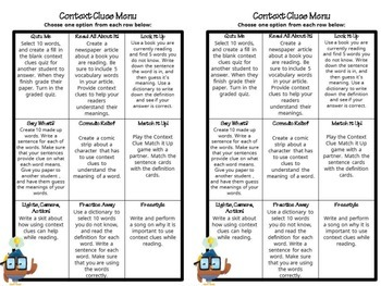 Context Clues Choice Board (Common Core Aligned)