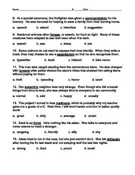 Context Clues Multiple-Choice Quiz