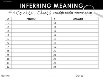 Context Clues Multiple Choice Task Cards with Graphic Organizers for Grades 3-5