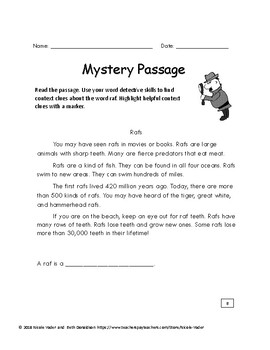 Context Clues - Differentiated Mystery Passages