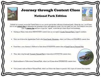 Context Clues National Park- lessons & practice sheets for 5 context clue types
