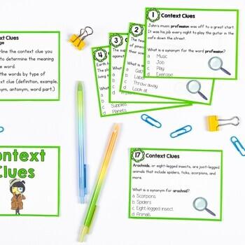 Context Clues Nonfiction Task Cards 2nd & 3rd Grade
