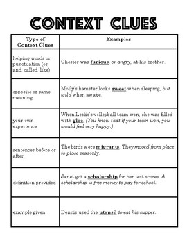 Context Clues Hand Out Worksheets for all | Download and Share ...