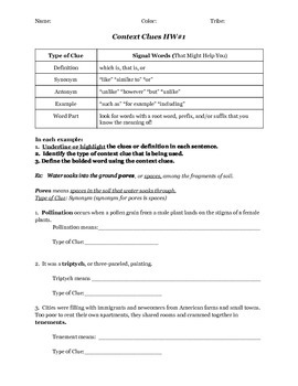 Context Clues Notes & Practice Worksheet