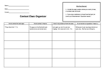 Context Clues Organizer