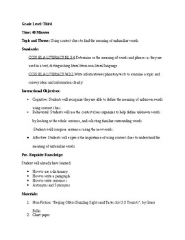 Context Clues Organizer Formal Lesson Plan + Activity