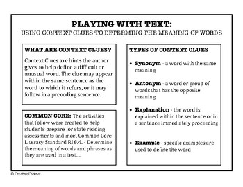 Context Clues - Playing with Text (Geography Content)
