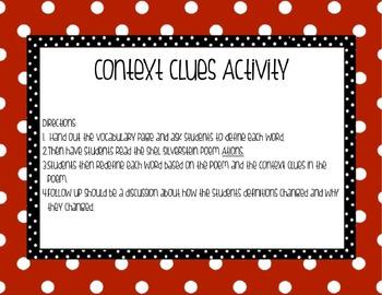 Context Clues Poetry Activity