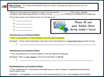Context Clues PowerPoint & Guided Notes
