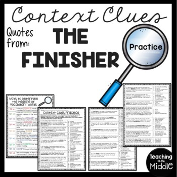 Context Clues Practice #4, Middle School, ELA Test Prep, The Finisher