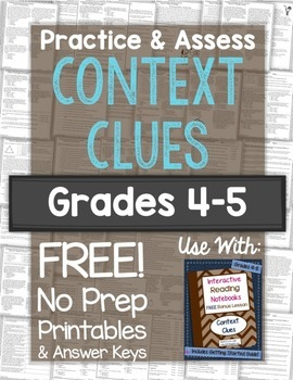 Context Clues Practice & Assess: FREE No Prep Printables f