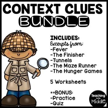 Context Clues Practice Bundle- 5 worksheets, Middle School, ELA test prep