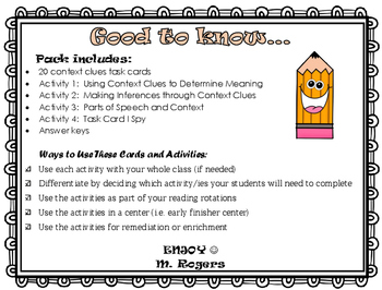 Context Clues Task Cards and Practice Pack