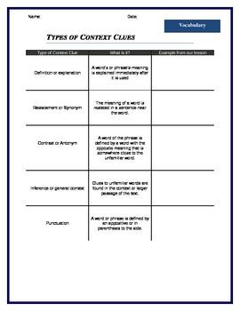 Context Clues Printable