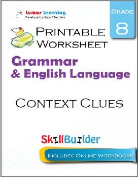 Context Clues Printable Worksheet, Grade 8