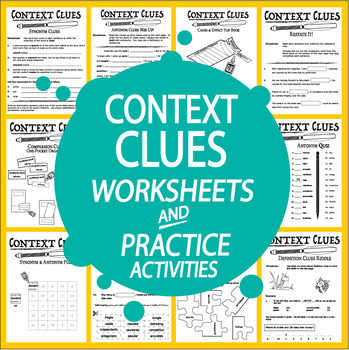 Context Clues Worksheet Activities Bundle8 Types Of Context Clues