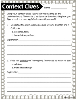 Vocabulary Context Clues Printables