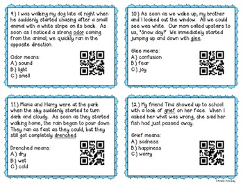 Context Clues QR Code Task Cards