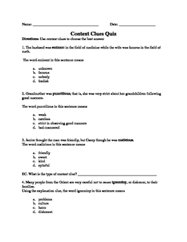 Context Clues Quiz