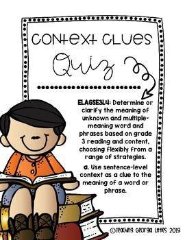 Context Clue Quiz Worksheets & Teaching Resources   TpT