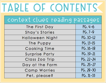 Context Clues: Reading Passages
