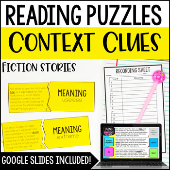 Context Clues Reading Puzzles | 4th and 5th Grade Fiction Reading Center
