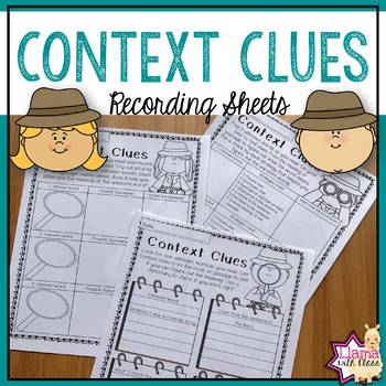 Context Clues Recording Sheets For Any Book