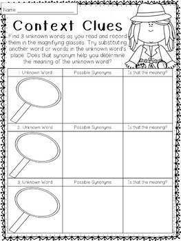 Context Clues Worksheet for Any Book