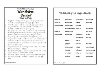 Context Clues Saying Verbs Who Makes Sense Card Game 1