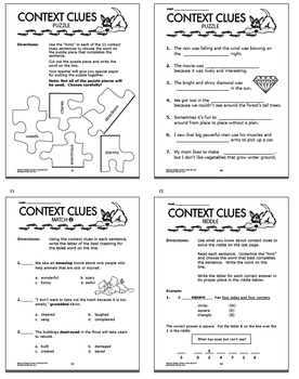 Context Clues Worksheets & Task Card Bundle – 2nd Grade Context Clues  Activities