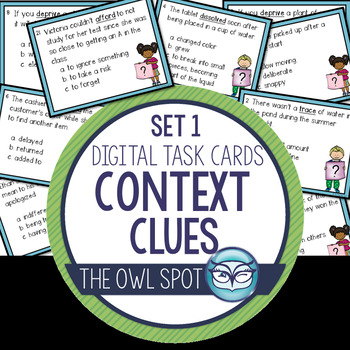 Context Clues Set 1 Digital Task Cards Test Prep