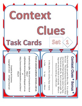 Context Clues Set 1 Task Cards
