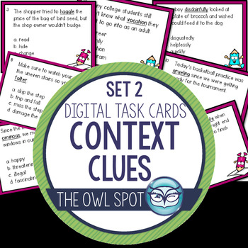 Context Clues Set 2 Digital Task Cards Test Prep