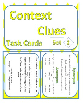 Context Clues Set 2 Task Cards