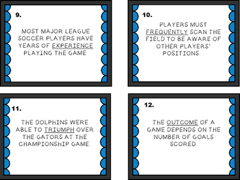 Context Clues - Soccer Theme Task Cards