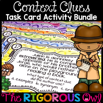 Context Clues Task Card Activity Bundle
