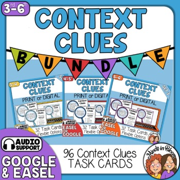Context Clues Task Card Bundle: 96 cards in color and black line