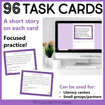 Context Clues Task Card Bundle for 4th Grade | Context Clues Centers