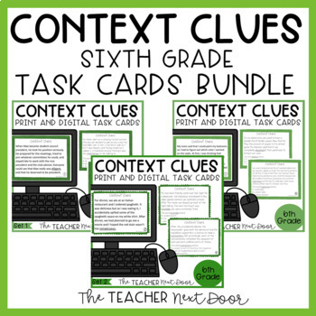 Context Clues Task Card Bundle for 6th Grade