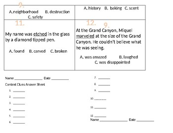 Context Clues Task Cards 1