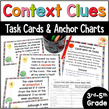 Context Clues Task Cards and Anchor Charts for 3rd-5th grade