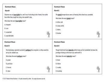 Context Clue Task Cards (Direct, Synonym, Antonym, Inference): Grades 5-8