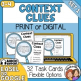 Context Clues Task Cards: 32 Sentence Cards for Grades 3-4 with Digital Option!