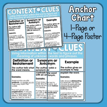 Context Clues Task Cards: 32 Sentence Cards for Grades 3-4