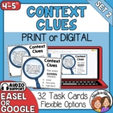 Context Clues Task Cards: 32 Cards for Grades 4-5 - Includes Digital Version!