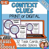 Context Clues Task Cards: 32 Cards for Grades 5-6 with Digital Option